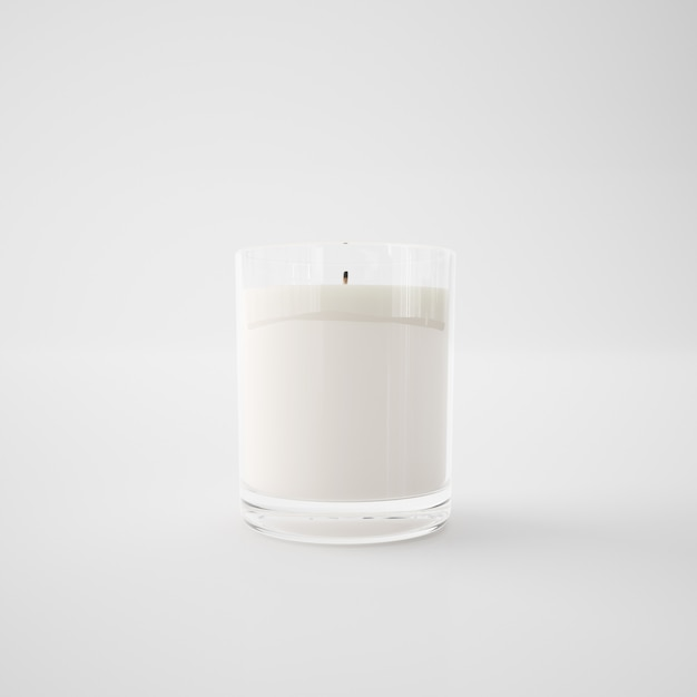 White candle in a glass Free Psd