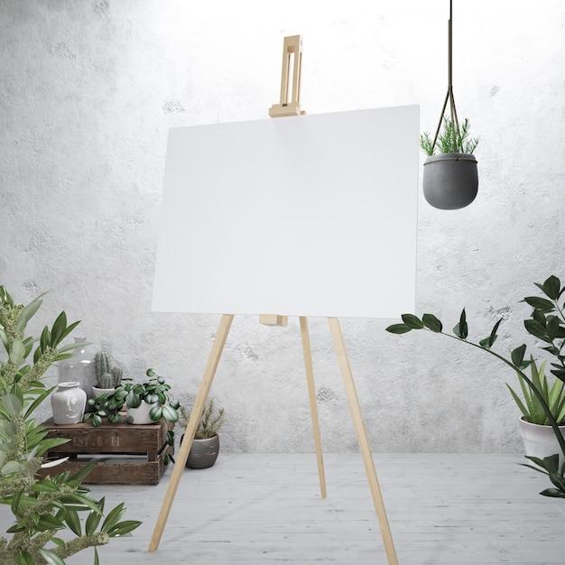 이젤에 흰색 캔버스 무료 PSD 파일
