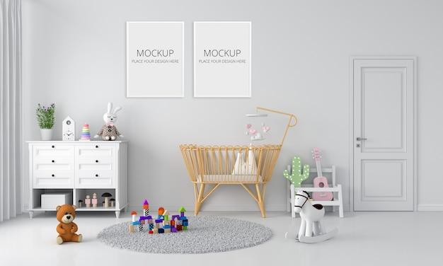 White child bedroom interior for mockup Premium Psd