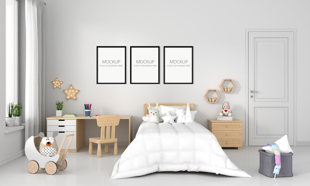 White child bedroom with frame mockup Free Psd