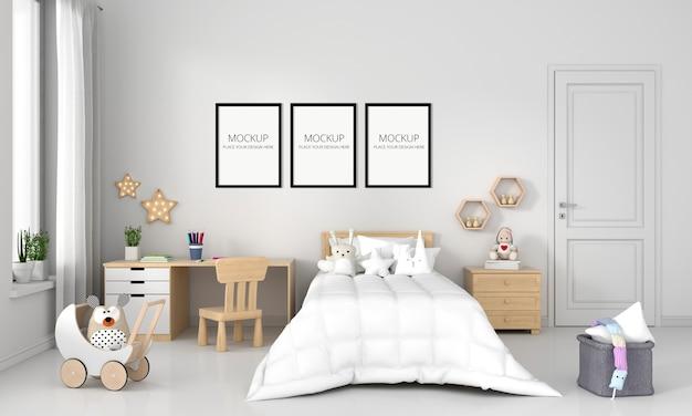 Белая детская спальня с каркасным макетом Бесплатные Psd