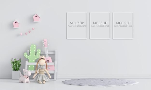 フレームモックアップ付きの白い子供部屋のインテリア Premium Psd