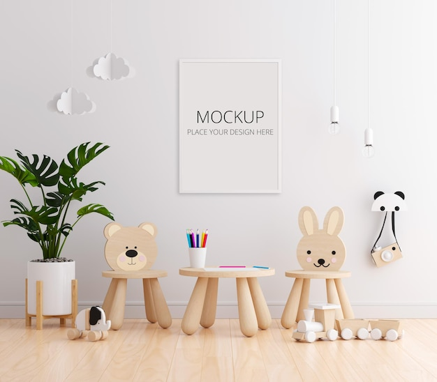 Белая детская комната с рамным макетом Premium Psd