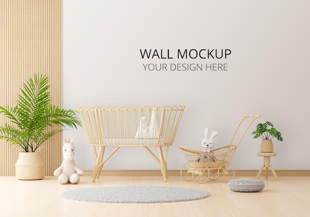 White child room with wall mockup Premium Psd
