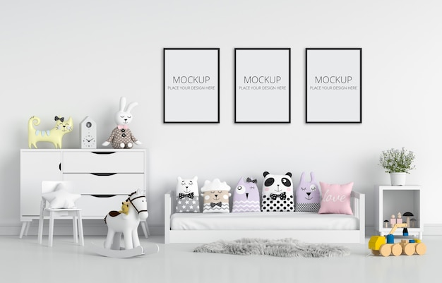 White children bedroom for mockup Premium Psd