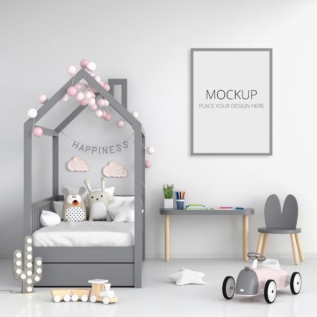 Белая детская спальня с каркасным макетом Premium Psd