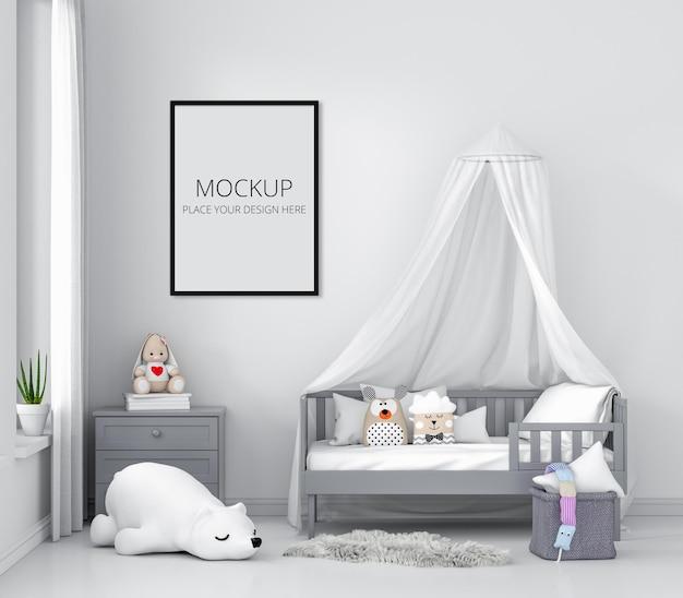 フレーム付きの白い子供の寝室 Premium Psd