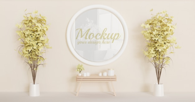 White circle frame mockup on the wall with couple decorative plants Premium Psd