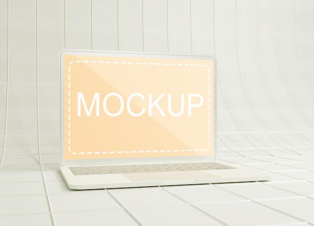 ワイヤーフレーム紙の表面に白い粘土のラップトップのモックアップ Premium Psd