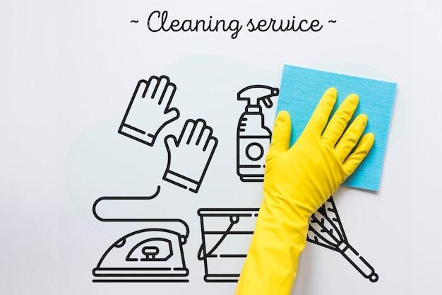 Servizio di pulizia sfondo bianco Psd Gratuite