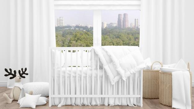 Presepe bianco in adorabile baby room Psd Gratuite