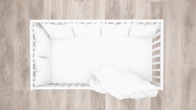 Vista superiore del presepe bianco, pavimento in parquet Psd Gratuite