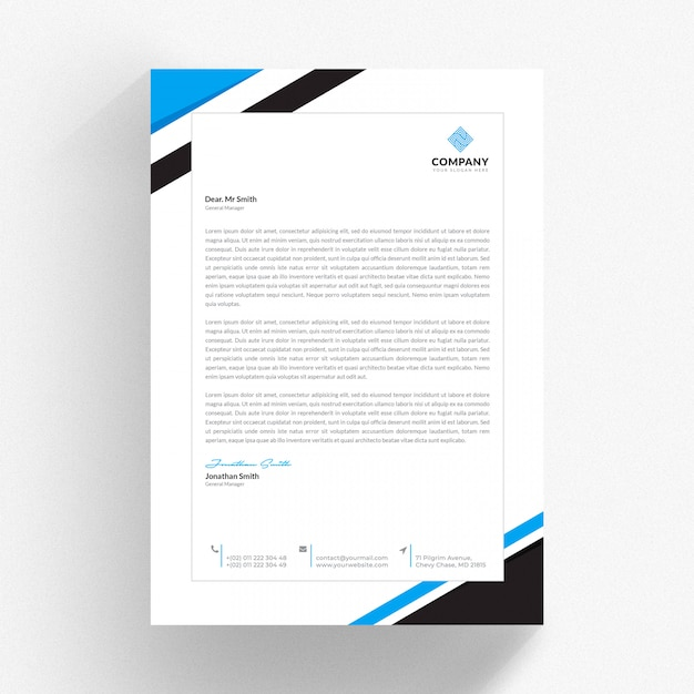 White cv template with blue and black details Premium Psd