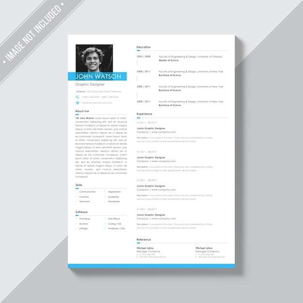 White cv template with blue details Free Psd