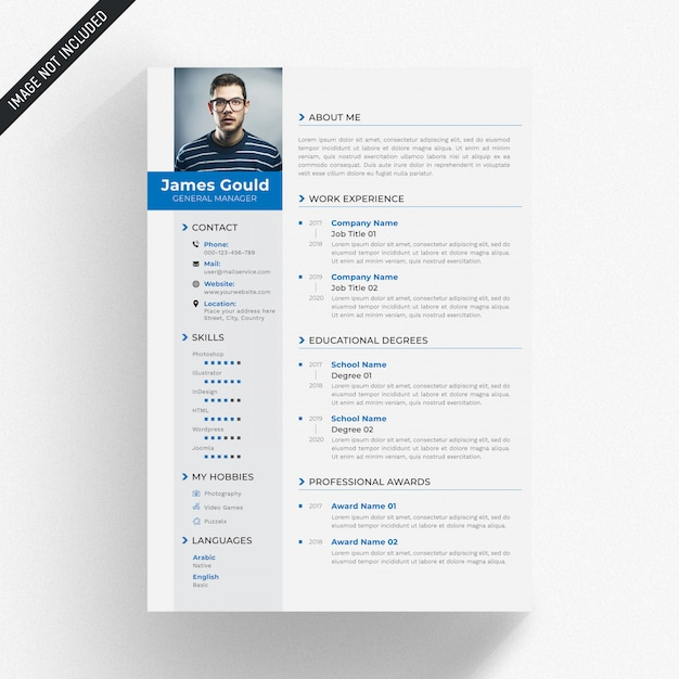 White cv template with blue and grey details Premium Psd