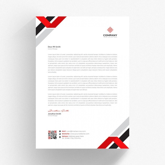 White cv template with red and black details Premium Psd