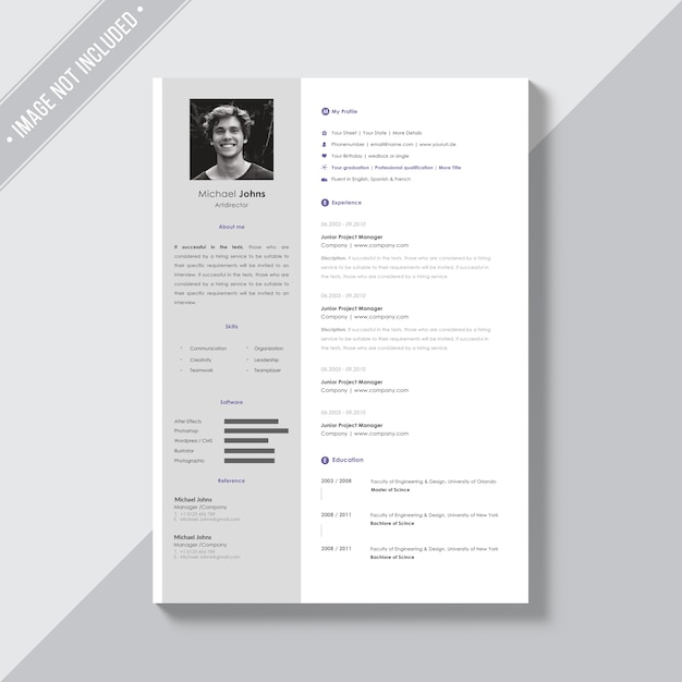 white cv template with silver details psd file