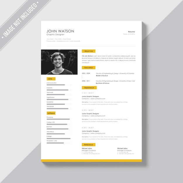 white cv template with yellow details psd file