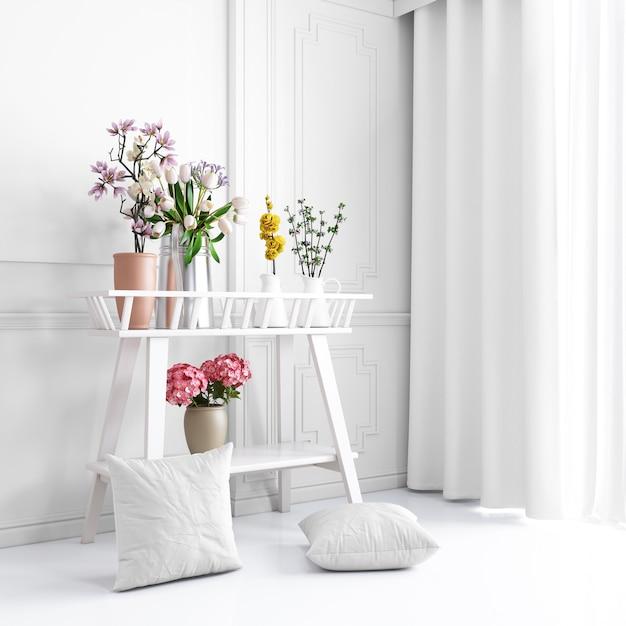 美しい植物と枕カバーのモックアップと白い装飾的な家具 無料 Psd