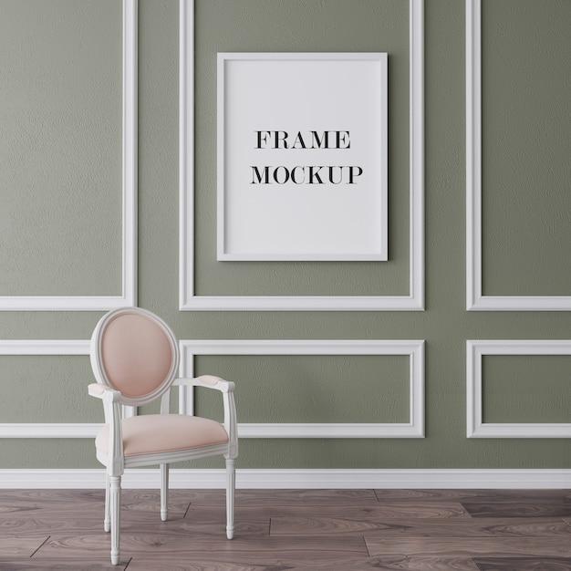 White frame mockup in classic interior Premium Psd