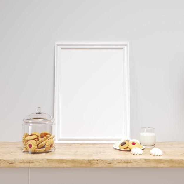おいしいクッキーとキッチンカウンターの白いフレームモックアップ 無料 Psd