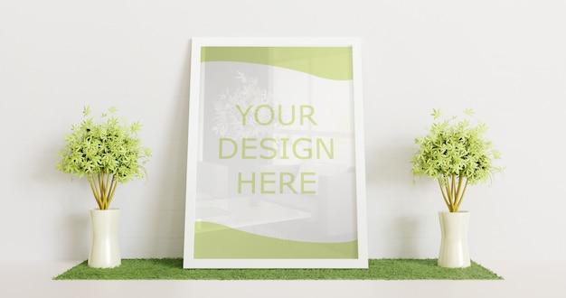 White frame mockup standing on white floor with couple decorative plant. horizontal frame Premium Psd