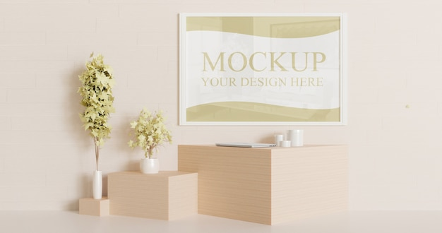 White frame mockup on the wall with couple decorative plants Premium Psd