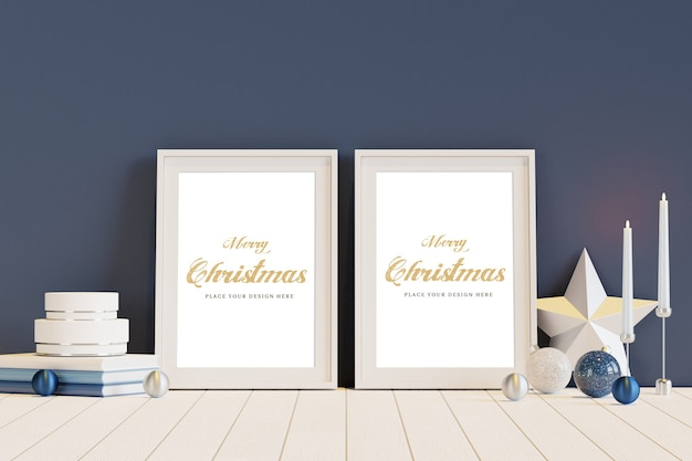 White frame with christmas decoration mockup Premium Psd
