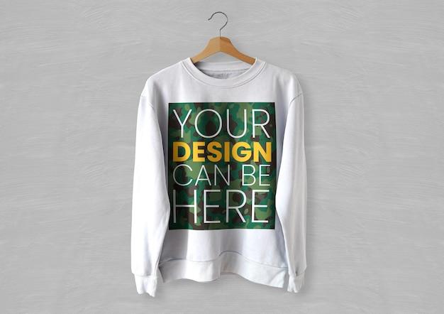흰색 앞 스웨터 목업 무료 PSD 파일
