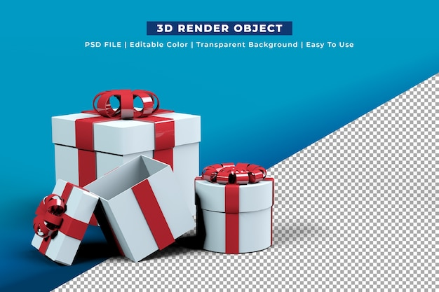White gift box with red bow Free Psd