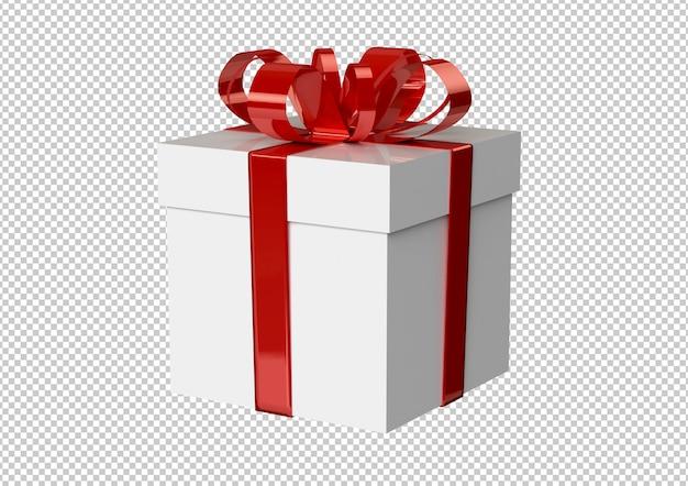 Белая подарочная коробка с красной лентой и бантом Premium Psd