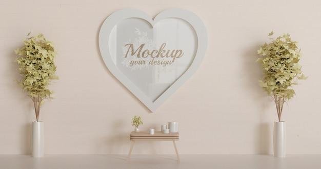 White heart shape frame mockup on the wall. love frame mockup. Premium Psd