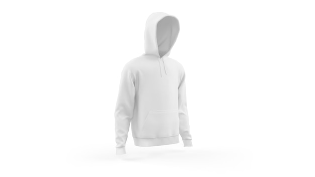 White hoodie mockup template isolated, front view Free Psd