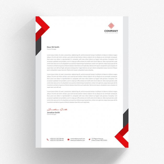 White letterhead cv template with red and grey details Premium Psd