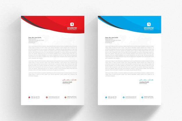 Белый шаблон фирменного бланка с синими и красными деталями Premium Psd