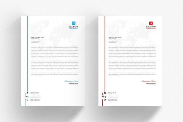 White letterhead template with colored side line Premium Psd
