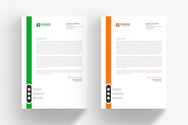 White letterhead template with green and orange details Premium Psd