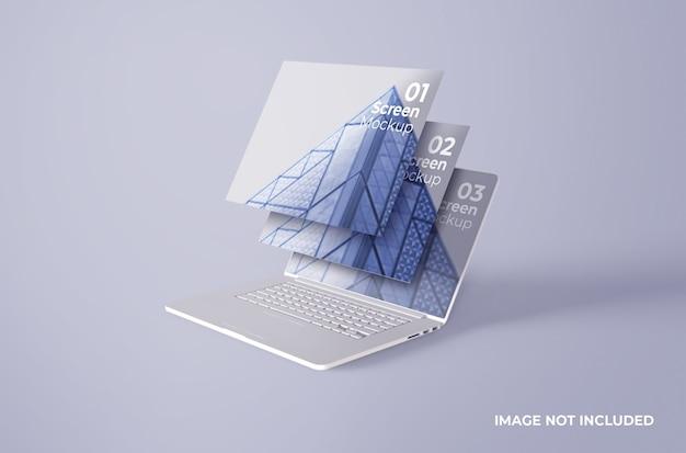 ホワイトmacbookproクレイスクリーンモックアップ Premium Psd