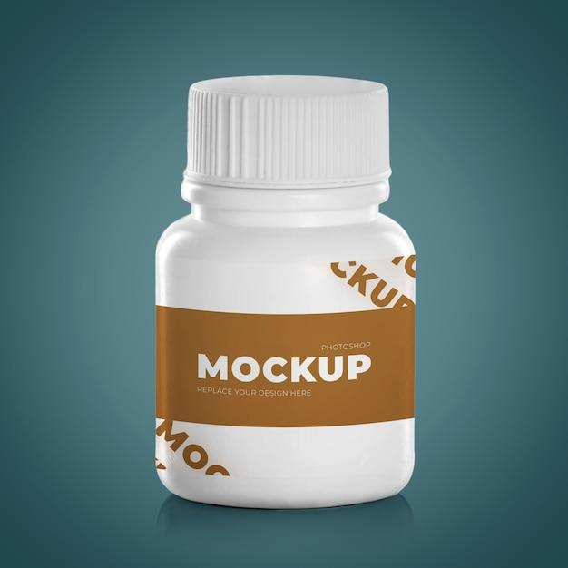 Белые медицинские препараты таблетки капсулы пластиковая бутылка изолированные Premium Psd