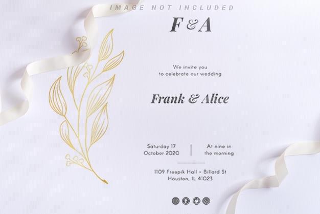 White mockup background with spiral ribbon. Premium Psd