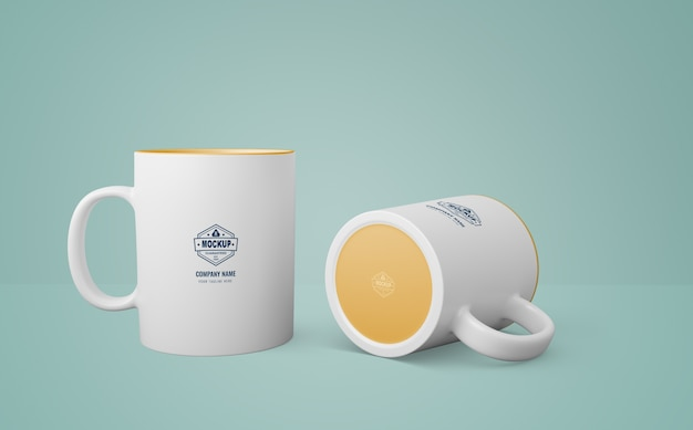 White mug with company logo Free Psd