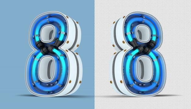 White number neon light 3d rendering illustration Premium Psd