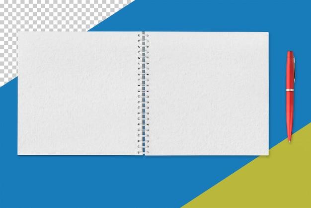 Белый открытый блокнот и красная ручка Premium Psd
