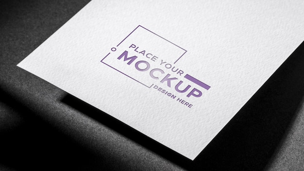White paper business card mock-up dark background Free Psd