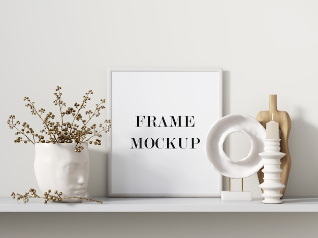 White picture frame beside interior accessories 3d rendering mockup Premium Psd