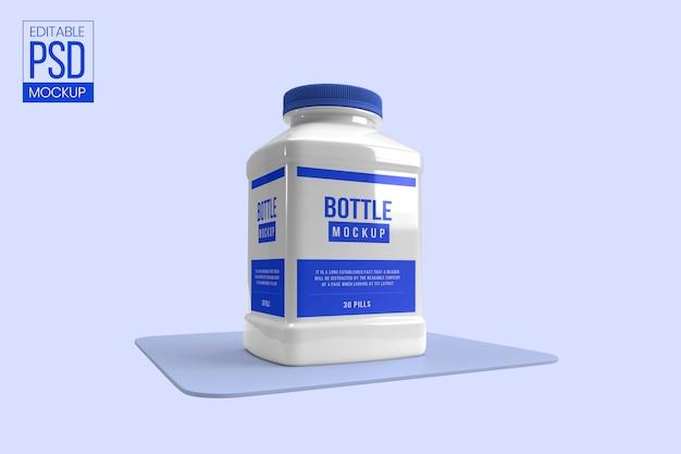 Макет бутылки с лекарством white pill Premium Psd