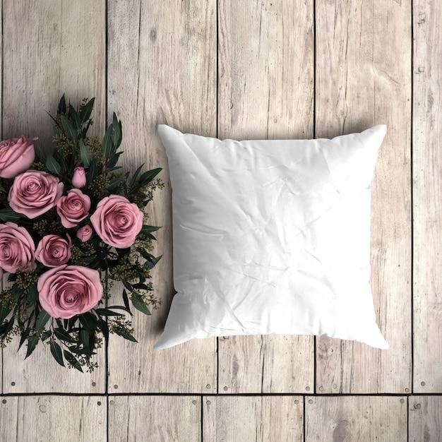 装飾的なバラと木の板に白い枕カバーモックアップ 無料 Psd
