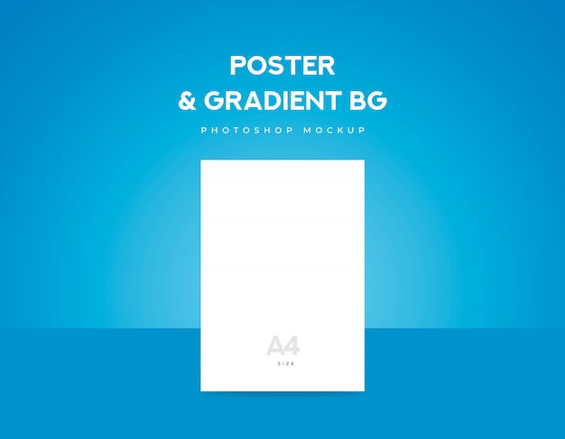 White poster paper or flyer a4 size and blue gradient background Premium Psd