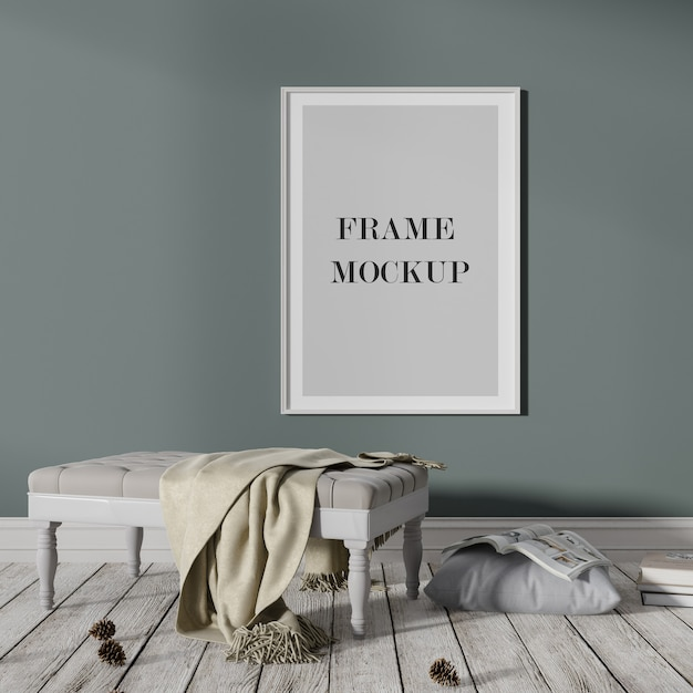 White poster and photo frame mockup on dark wall Premium Psd