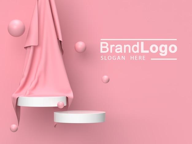 Белая подставка для продуктов и розовая ткань Premium Psd